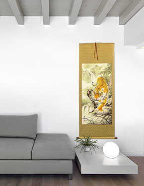 Prowling Chinese Tiger Wall Scroll living room view