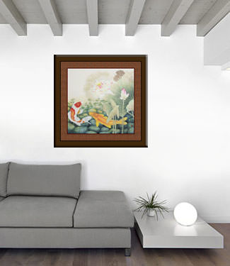 Koi Fish in Lotus Pond - Large Painting living room view