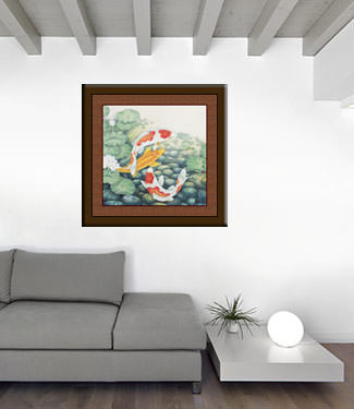 Koi Fish and Lotus Flowers - Large Painting living room view