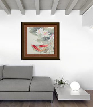 Koi Fish and Lotus Flower - Gorgeous Chinese Painting living room view