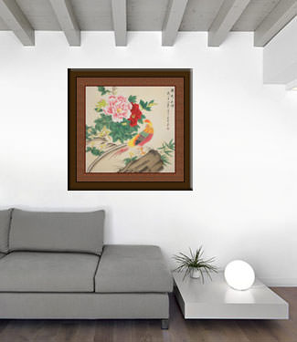 Beautiful Golden Pheasant & Peony Flowers Painting living room view