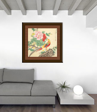 Beautiful Golden Pheasant and Peony Flowers Painting living room view