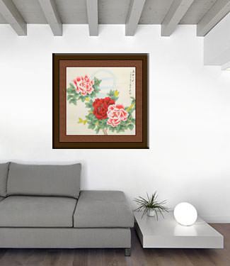 Beautiful Peony Flowers & Moon Painting living room view