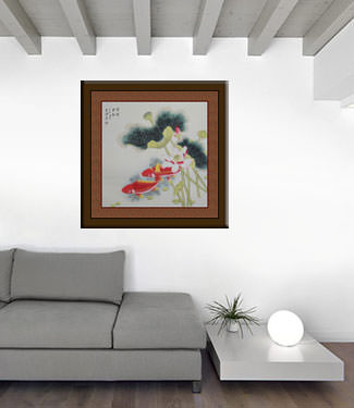 Koi Fish and Lotus Flower Painting living room view