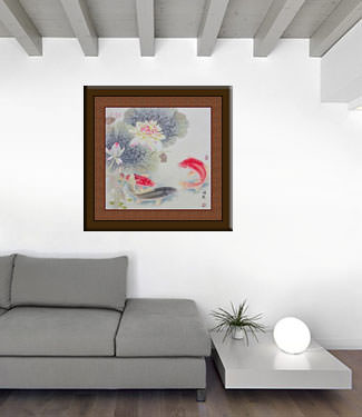 Koi Fish and Lotus Flower - Gorgeous Asian Painting living room view