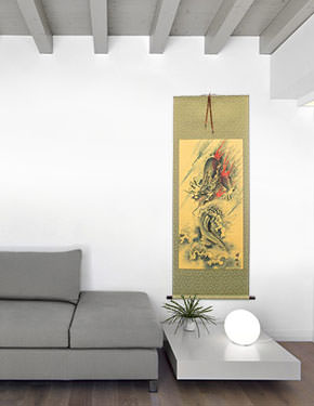 Flying Chinese Dragon - Asian Wall Scroll living room view