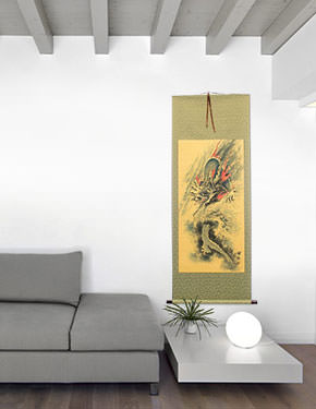 Antique-Style Flying Chinese Dragon - Wall Scroll living room view