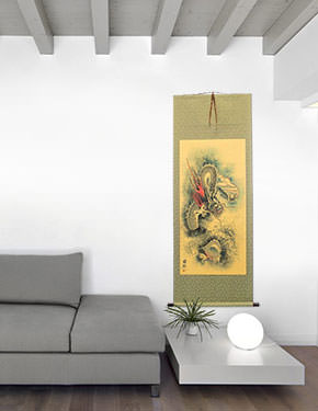 Flying Chinese Dragon and Lightning Pearl - Chinese Wall Scroll living room view