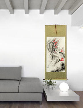 Flying Chinese Dragon & Lightning Pearl - Chinese Scroll living room view
