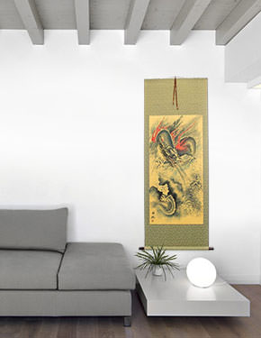 Flying Chinese Dragon and Lightning Pearl - Chinese Scroll living room view