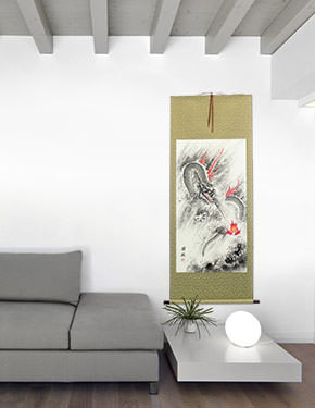 Flying Chinese Dragon Lightning Pearl - Asian Scroll living room view
