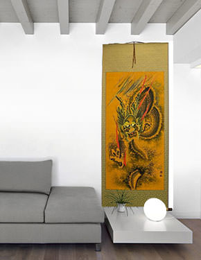 Flying Chinese Dragon Wall Scroll living room view