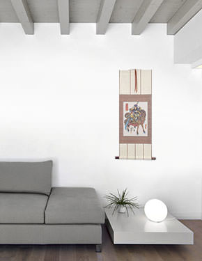 Warrior Guan Gong on Horseback Wall Scroll living room view
