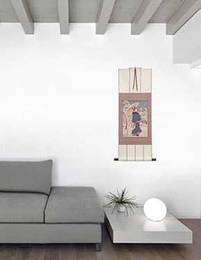 Woman Strolling in Asakusa - Japanese Woodblock Print Repro - Wall Scroll living room view