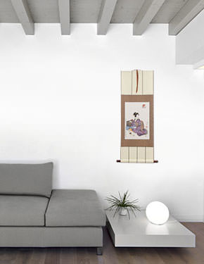 Japanese Sewing Lady Wall Scroll living room view