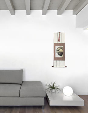 Face of Buddha Print - Small Wall Scroll living room view