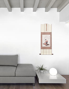Japanese Sewing Girl Wall Scroll living room view