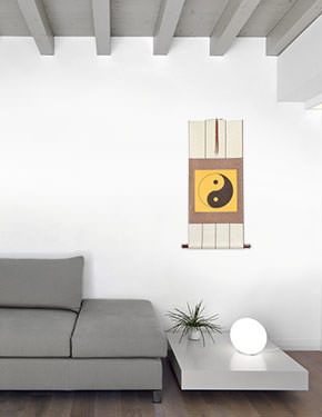 Orange Yin Yang Symbol - Wall Scroll living room view