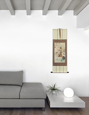 Chinese Female Warrior Mu Guiying Wall Scroll living room view