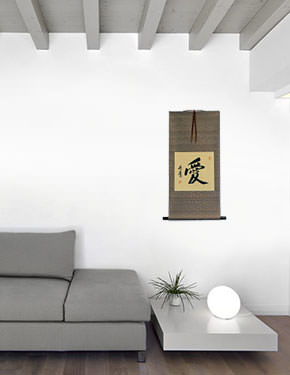 Chinese and Japanese Kanji LOVE Calligraphy Wall Scroll living room view
