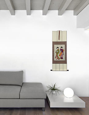 Geisha & Servant Carrying a Shamisen Box - Japanese Print - Wall Scroll living room view