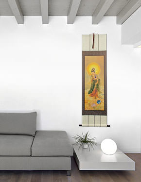 Guanyin Buddha Print - Wall Scroll living room view