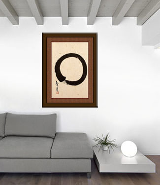 Large Enso Japanese Calligraphy Portrait living room view