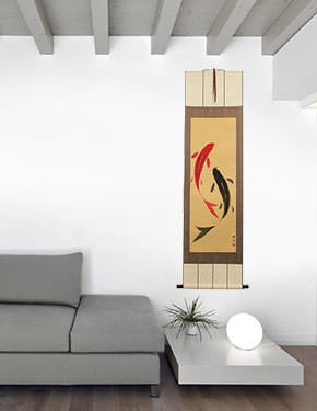 Yin Yang Koi Fish Wall Scroll living room view