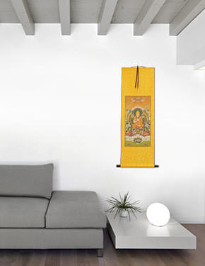 Tibetan Buddha Print - Yellow Wall Scroll living room view