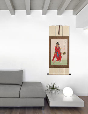 Ji Gong - The Mad Monk - Wall Scroll living room view