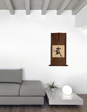 Warrior Spirit - Martial - Chinese / Japanese Kanji Calligraphy Scroll living room view