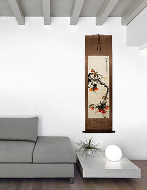 Autumn Feeling - Bird and Flower Wall Scroll living room view