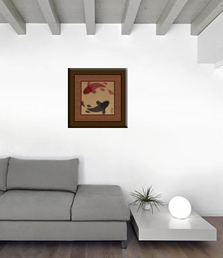 Yin Yang Fish Painting with Copper Silk Border living room view