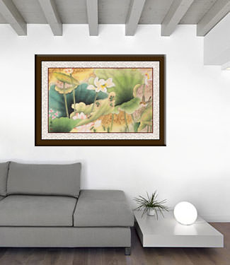 Little Bird in the Lotus - Asian Watercolor Masterpiece Painting living room view