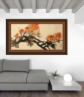 Colorful Peony Flowers Painting living room view