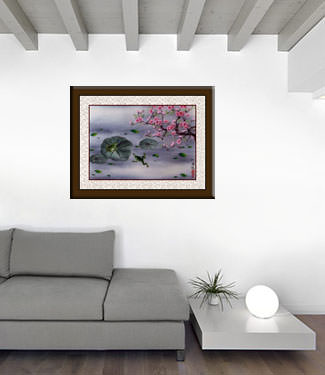 Chinese Frogs and Plum Blossom Painting living room view