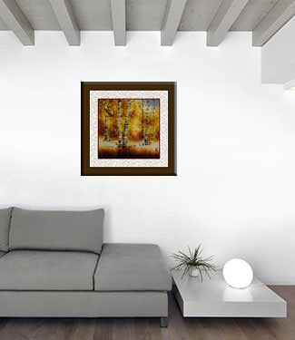 Autumn in Birch Forest - Asian Cranes Landscape Painting living room view
