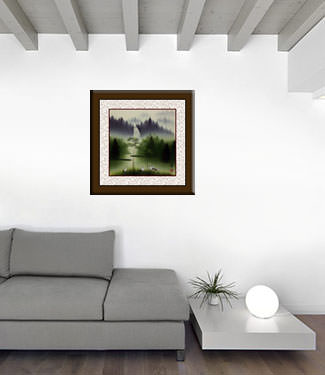 Waterfall Delight Watercolor Chinese Landscape Painting living room view