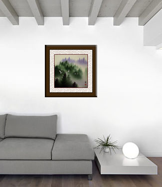 Homeward Bound Cranes - Asian Art Portrait living room view