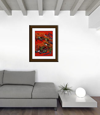 Mountain Village - New Look - Chinese Folk Art Painting living room view