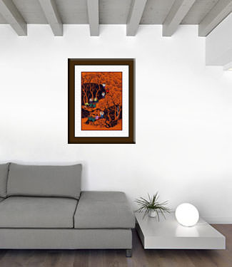 Mountain Village Harvest - Huxian Chinese Folk Art living room view