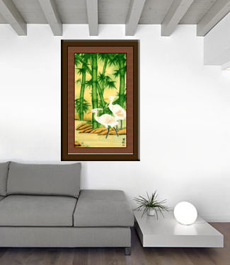Egrets and Bamboo Large Vertical Painting living room view