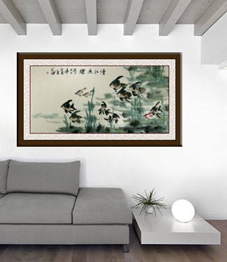 Huge Angel Fish Painting living room view