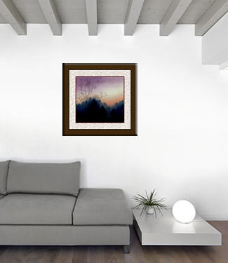 Twilight Birds - Colorful Asian Landscape Painting living room view