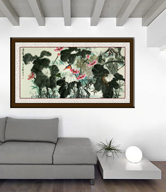 Traditional Freehand Chinese Lotus and Birds Large Painting living room view