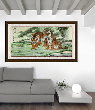 Invincible Might Asian Tigers Large Painting living room view