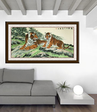 Chinese Tigers Take a Rest - Large Painting living room view