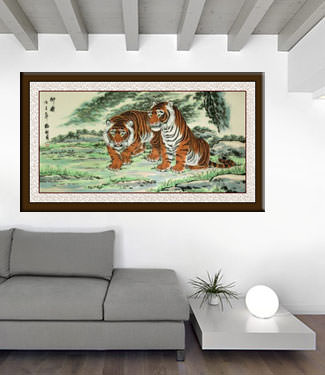 Invincible Might Asian Tigers Huge Painting living room view